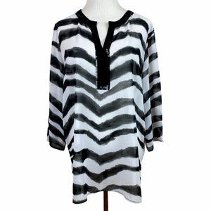 Chicos Blouse Tunic Top Semi Sheer Zebra Print 1 M